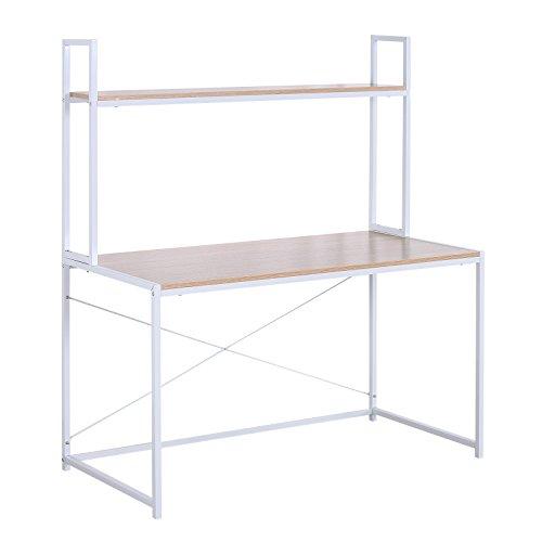 WOLTU TSB09hei Schreibtisch Computertisch Büromöbel PC Tisch Bürotisch Arbeitstisch aus Holz und Stahl, mit Ablage, ca. 120x60x140 cm, Hell Eiche+Weiß