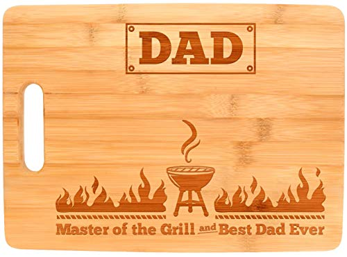 Laser Engraved Cutting Board Master of the Grill and Best Dad Ever Father's Day Gifts Birthday Gifts for Dad Rectangle Bamboo Cutting Board