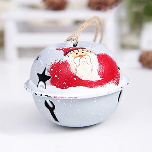Weihnachtsschmuck,1 stück Farbe Hanfseil Glocke Anhänger Christbaum Schmuck Hängende Ornamente Glocken Weihnachten Schmuck,für Schranktür Fensterbehang Dekorationen,6x6x6cm (Weiß)