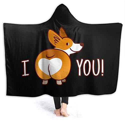 AEMAPE I Love You Corgi - Manta con Capucha para Perro, cómodas Mantas, Manta de Lana para niños, Adultos, 50 x 40 Pulgadas