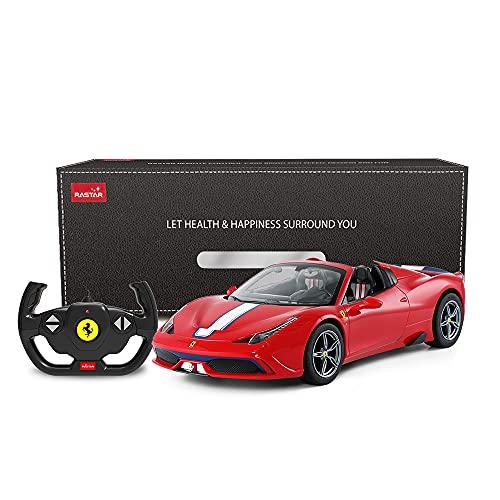 RASTAR Coche de control remoto Ferrari, 1/14 Ferrari 458 Special A Red Toy Car - Convertible, Auto Open/Close