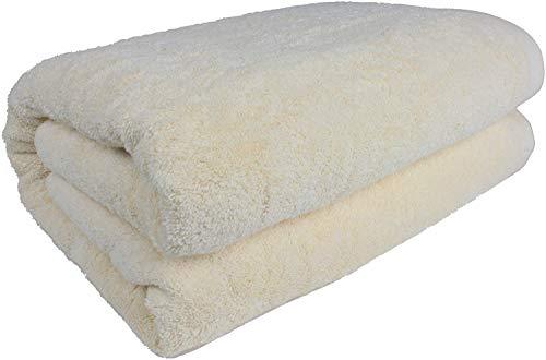 "SALBAKOS 40""x80"" Turkish Cotton Bath Sheet, Luxury, Eco-Friendly Oversized - Extra Large Bath Towels - XL, Toallas De Baño   Bano Grandes (40x80, Ivory)"