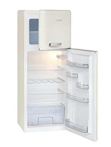 Bomann DTR 353 Réfrigérateur double porte style rétro, classe d'efficacité énergétique A++, 208 L, refroidissement 157 L, congélateur 51 L, hauteur 143,5 cm, 172 kWh