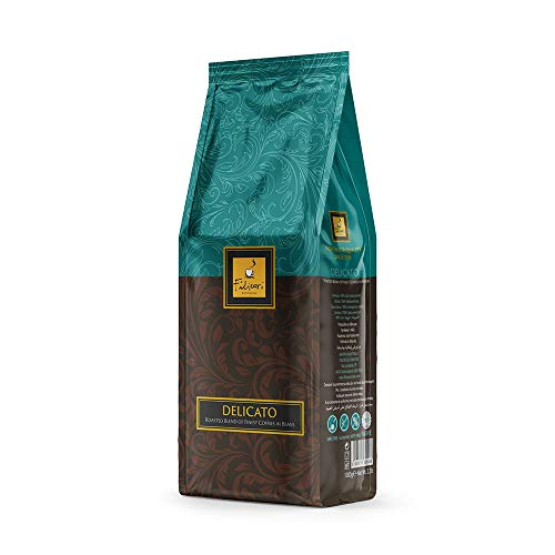 Whole Coffee Bean Italian Espresso Medium Dark Roast - DELICATO by Filicori Zecchini. Arabica and Robusta Blend. Roasted then blended. Made in Italy since 1919 - 2.2Lb (1kg) Bag