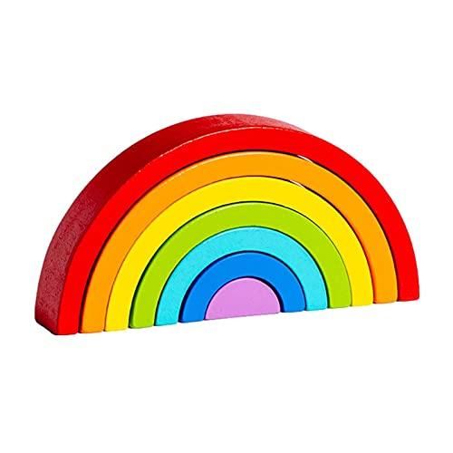 Juguetes apilables de arcoíris de madera, apilador de arcoíris circular doble de 7 piezas, juguetes Waldorf y Montessori, juguete de clasificación de color, juguetes educativos