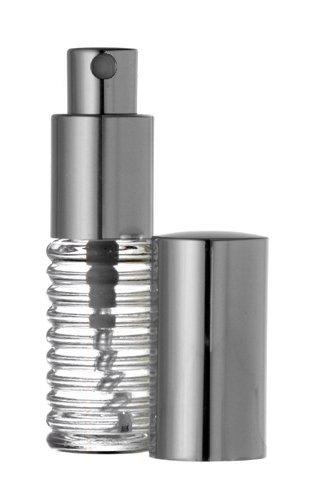 Riverrun Small Travel Perfume Atomizer Spiral Glass Bottle Silver Sprayer 1/4 oz 7.5ml (Set of 3) (0.25 Ounce Cologne Spray)