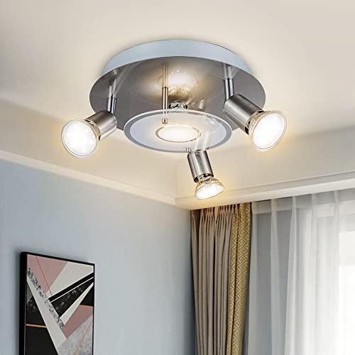 DLLT Modern Ceiling Spot Lights Fixtures 4-Light Round Flush Mount Directional Lighting, Adjustable...
