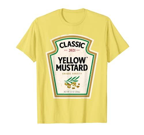 Disfraz de mostaza amarilla para Halloween a juego con ketchup mostaza Camiseta