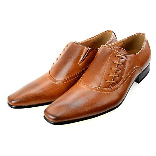 [エムエムワン] ビジネスシューズ メンズ 大きいサイズ 28.5cm から 30.0cm サイドレース プレーントゥ 紳士靴 フォーマル MPT125-6-KG ブラウン 茶 28.5cm BZB004 1