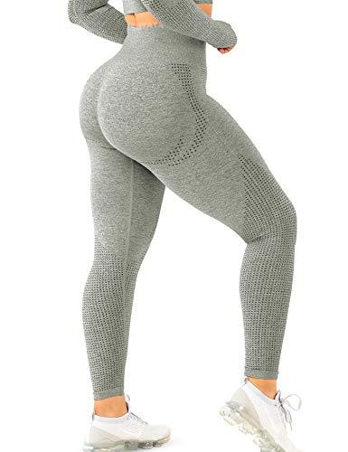 TSUTAYA Seamless Leggings High Waisted Women's Yoga Pants Workout Stretchy Vital Activewear Tummy Control Leggings Khaki Green, M