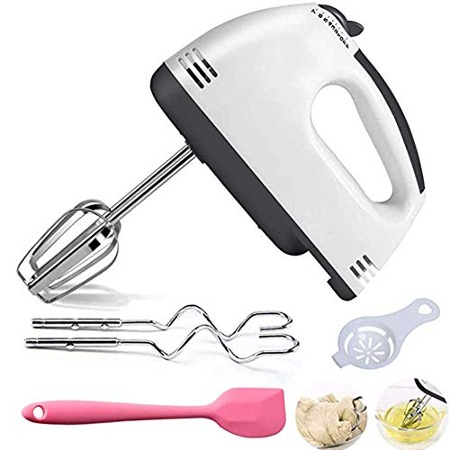 LKW Electric Mixer Handheld 7-Speed ​​Advantage Frusta Eggbeater con 4 Allegati Acciaio Inossidabile Bianchi per Eggcream Montalatte, Kitchen Aid, Cottura, Torta, caffè, Accessori