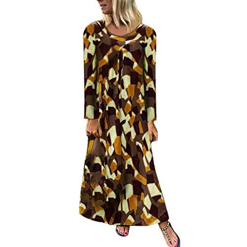 Damen Kleider Blumen Cocktailkleid Abendkleid,Neuer Rock Bedrucktes Kleid mit langen Ärmeln Plus Size Print Langarm Langes Kleid Maxi Böhmisches Kleid S-XXL