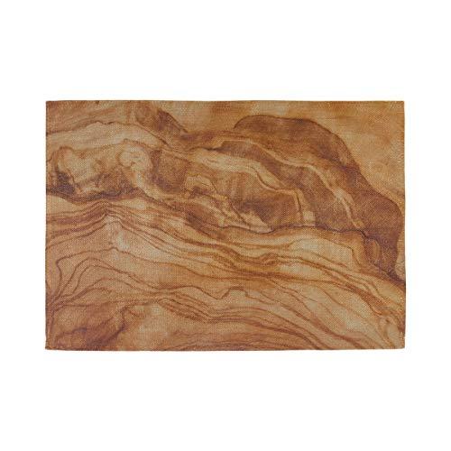 Table Place Mats Sets Tablero de Corte de Grano de Madera de Olivo Estructura de 12x18 Pulgadas Manteles Individuales Conjunto de 6 Impresión de Tela Doble Lino de algodón para Mesa de cocin