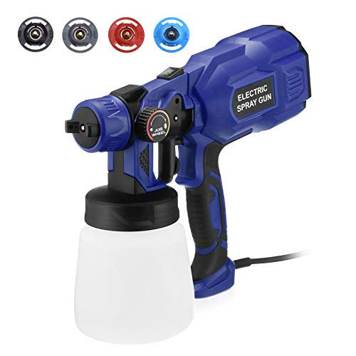 Magolin Paint Sprayer 750W HVLP Spray Gun with 3 Patterns & 4 Nozzles Lightweight for Home,Furniture, Fence, Car, Bicycle, Chair, Watering High Power 800ml Detachable Container