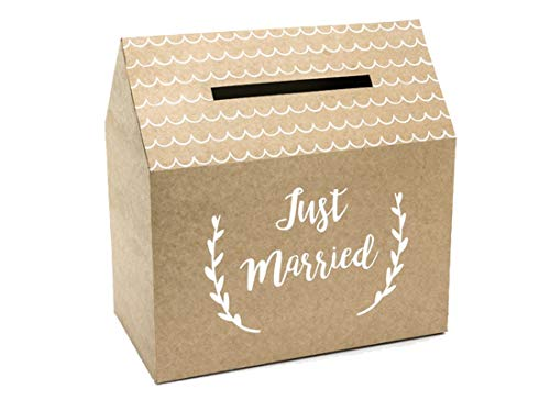 P&D PUDTM7-031 - Card Box Matrimonio in Carta Kraft con Scritta Bianca Just Married