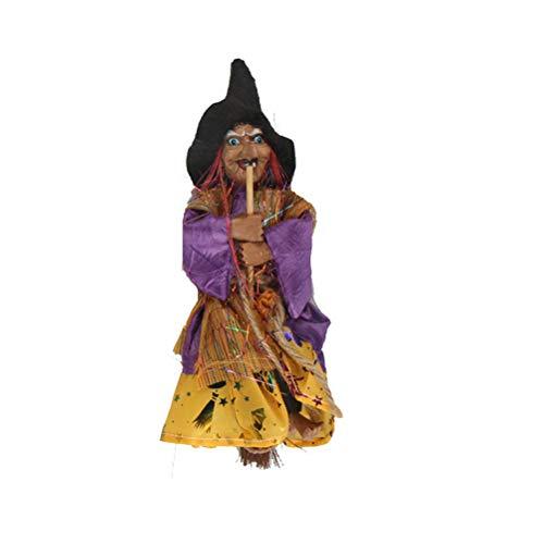 BESTOYARD Decoración de Halloween Colgante Bruja Horror Colgante Volando Estatuilla de Brujas Adornos Colgante para Patio Jardín Fiesta de día Festivo (Amarillo)