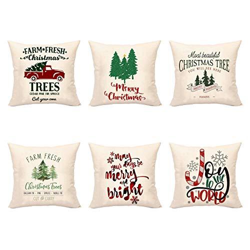 deendeng Fundas de almohada de Navidad – 6 piezas rústicas de granja fresca Navidad funda de almohada árbol de Navidad camión funda de cojín de lino
