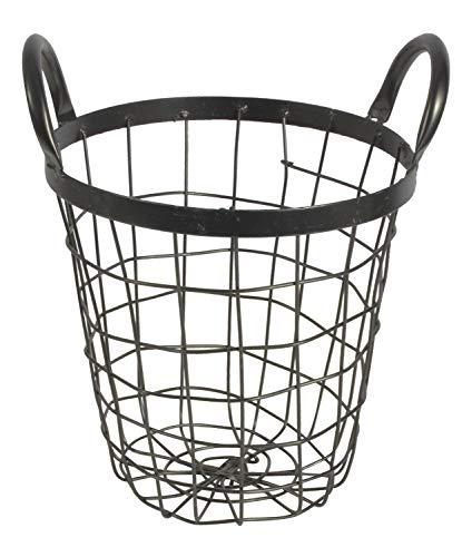 CHICCIE draadmand rond zwart met handgrepen 20 cm - mand opbergmand opbergdoos fruitmand metalen mand