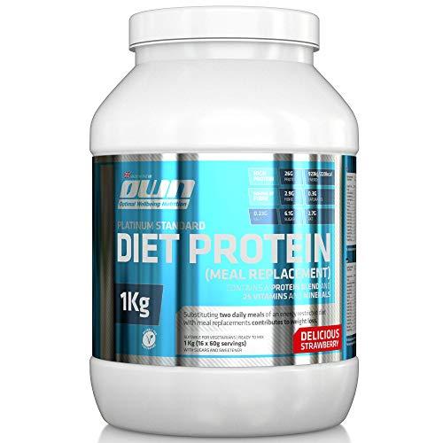OWN - Platinum Standard Diet Protein, Diät-Protein-Shake als Mahlzeitenersatz, Erdbeergeschmack, 1kg