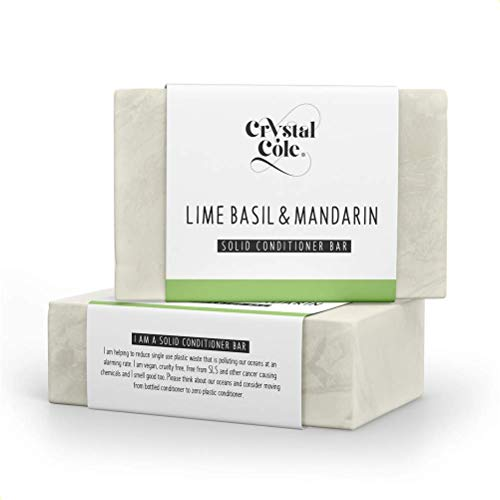 Crystal Cole Sollide Barre de Shampooing/Conditionneur Barre (Après-shampooing) - Vegan - 100% écologique/zéro en plastique (Citron Vert Basilique Mandarine, Conditionneur Barre)