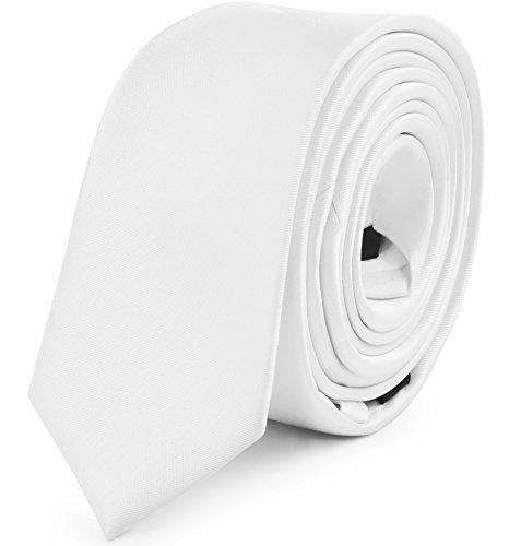 Ladeheid Herren Schmale Krawatte SP-5 (150cm x 5cm, Weiß)
