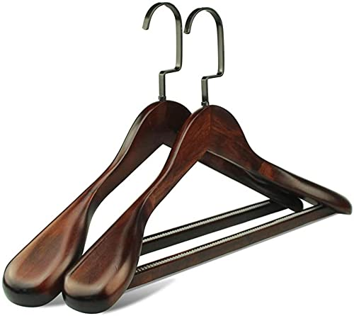 ZouYongKang Mantelbügel 2-Pack, Holzaufhänger Hosenhände Extra breite Schulter Holzhänger für schweren Mantel, Pullover, Rock, Anzug, Hose, Retro-Finish