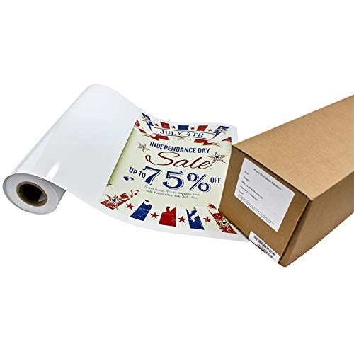 Photo Peel Glossy Printable Adhesive Vinyl Roll 17 inches x 10 feet Inkjet Peel and Stick Sticker Paper Works with All Inkjet Printers Including Professional Makes and Models