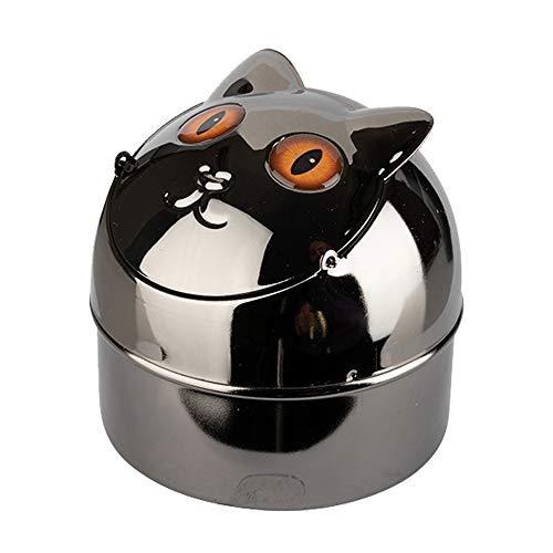 Windaschenbecher CAT Kippaschenbecher Katzen Aschenbecher für Innen und Außen Metall Windascher Kippascher (Ed)