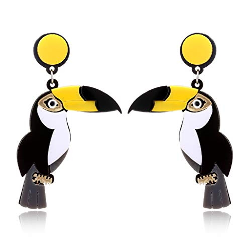 smallJUN Femmes Mode Lumineux Acrylique Perroquet Oiseau Oreille Boucles d'oreilles Se démarquer Bijoux De Mode Boucles d'oreilles pour Les Femmes Multicolore