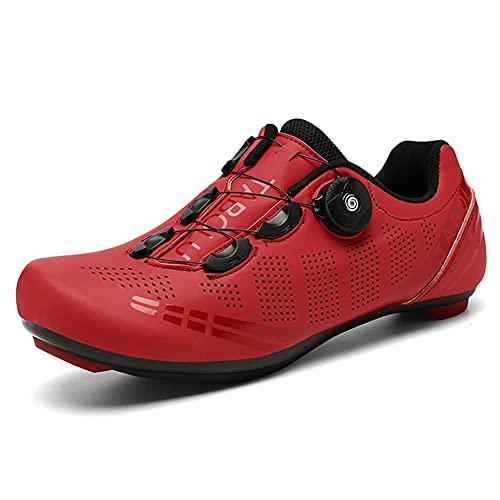 Youngtie Herren Damen Rennrad Fahrradschuhe Specialized Indoor Peloton Fahrradschuhe Kompatibel mit SPD und Delta Rot 235