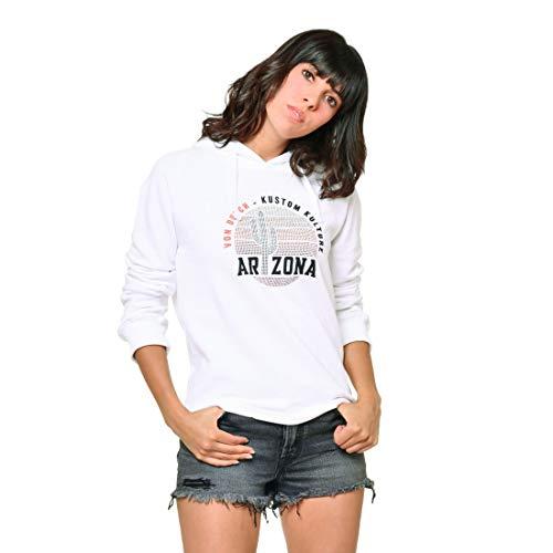 Von Dutch - Sudadera con capucha y brillantes para mujer, color blanco
