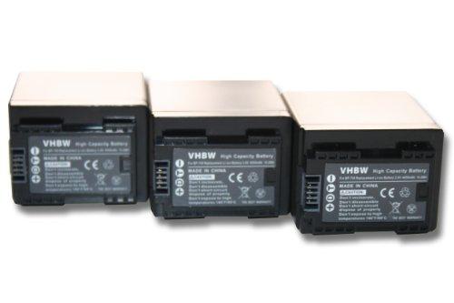 vhbw 3x Li-Ion batteria 4450mAh (3.6V) con infochip per telecamera videocamera camcorder Canon Legria HF R66, HF R68, HF R606 come BP-727, BP-745