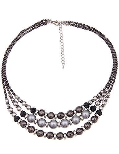 Leslii Damenkette Kugel-Mix aus Metalllegierung mit Kunststoff Länge 45cm + Verlängerung in Silber Schwarz