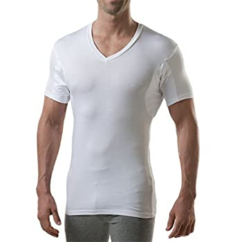 Sweatproof Undershirt for Men with Underarm Sweat Pads  Slim Fit V-Neck  White