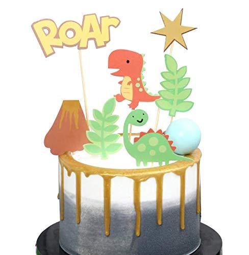 Decorazione per torta a forma di dinosauro, con scritta'Happy Birthday New Borth Age' (lingua italiana non garantita)
