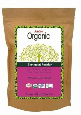 RADICO - Bhringaraj Powder - Cuidado reconstituyente para un cabello sano y resplandeciente - Efecto tonificante & revitalizante - Para las canas - Pelo más flexible - 100 gr