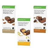 Pack de 3 Barritas de Proteínas bajas en azúcar Herbalife. Ricas en proteínas, vitaminas B1 B2 B6, Vitamina E y Ácido Pantoténico