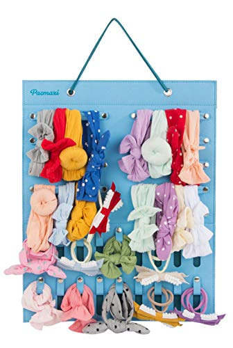Hanging Baby Girl Headbands Storage Organizer, Newborn Headbands and Bows Holder(10 Snap Band+18 Snaps, Ice Blue + Blue Haze)