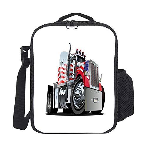 Bolsas de almuerzo para mujer, con soporte para botellas, diseño de bandera americana, semi18 ruedas, transporte patriótico, vehículos industriales, personalizables, cuadrados, lavables