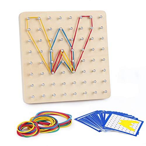 Mitening Holz Geoboard Set Geometriebrett Kinderspielzeug Montessori Holzspielzeug Pädagogisches Lernen Spielzeug für Kinder ab 3 Jahren, Inspirieren die Phantasie und Kreativität des Kinders