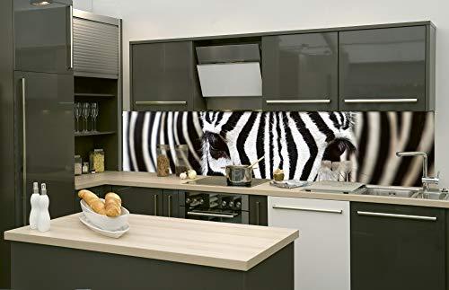 DIMEX LINE Küchenrückwand Folie selbstklebend Zebra | Klebefolie - Dekofolie - Spritzschutz für Küche | Premium QUALITÄT - Made in EU | 260 cm x 60 cm
