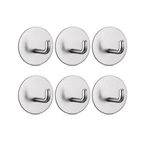 RAZIGI Gancho de Toalla de Acero Inoxidable Autoadhesivo Puertas, cocinas, baños, oficinas-6 Piezas (Color : White)