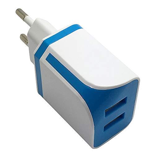 Vimoli USB Cargador de Viaje con 2 Puertos Movil Universal Adaptador Duradero para Huawei, Xiaomi, iPad, iPhone, Samsung,Teléfonos Inteligentes, Tabletas, MP3 y Otros (Azul)