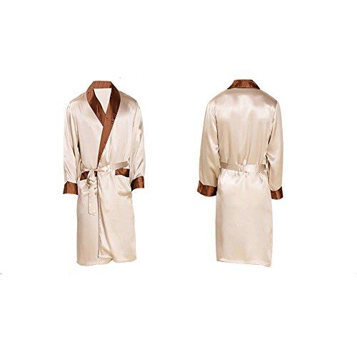 SQINAA Robe 100% Seta Maschile,Kimono Accappatoio Sciolto Manica Lunga Pigiameria del Pigiama di Raso-B M