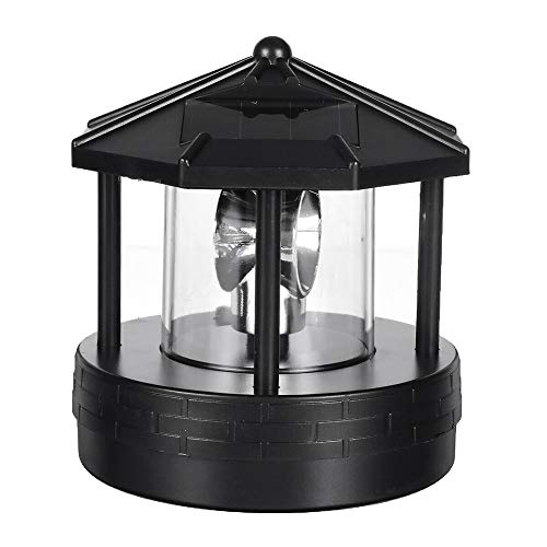 Weoto Solar LED Rotating Lighthouse, Bright LED Patio Decking Garden Rotating Light, Garden Yard Lawn Lamp for Outdoor Home