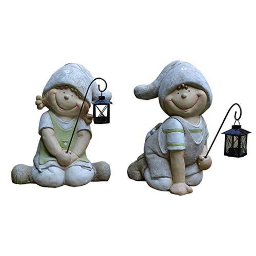 Figurines Décoration de Jardin Sculpture en résine Une Paire d'ornements for Enfants Chandelier décoratif de Jardinage (Color : Gray, Size : 42 * 35cm)