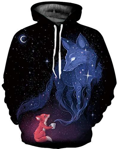 Ocean Plus Hombre 3D Sudaderas Suéter de Lobo Colorido Sudadera con Capucha Cráneo...