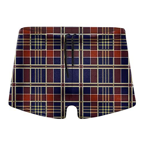 XCNGG Classic Dark Lattice Calzoncillos Tipo bóxer de Secado rápido para Hombres Traje de baño Shorts Troncos Traje de baño-L