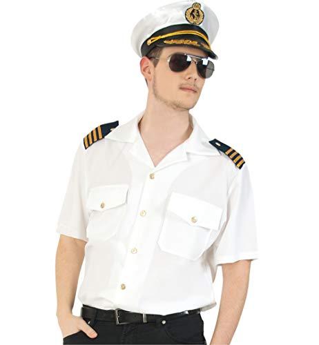 KarnevalsTeufel Herrenkostüm-Set Kapitän 3-teilig Hemd in weiß mit Mütze und Pilotenbrille Kapitän Flugzeugführer Uniform (Large)