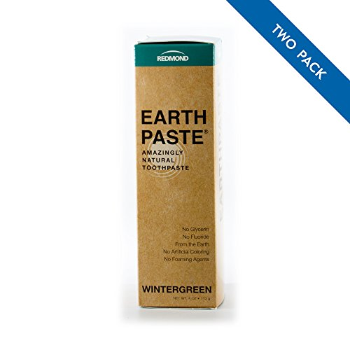 REDMOND - Earthpaste All Natural Non-Fluoride Vegan Non GMO Real Ingredients Toothpaste, Wintergreen, 4 Ounce Tube (2 Pack)